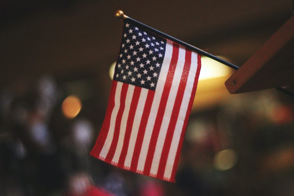 selective focus photography of USA flaglet